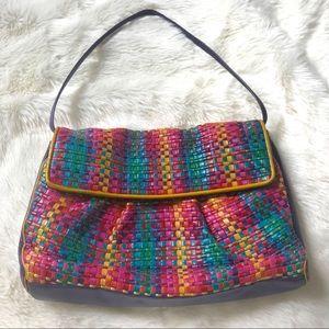 Handbags - {Sharif} Colorful VINTAGE leather woven purse
